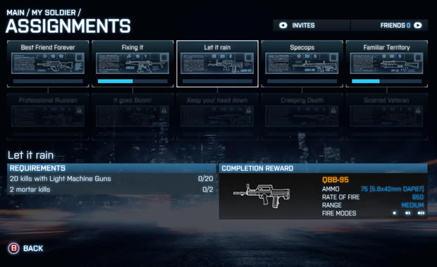 How to get assignments bf3